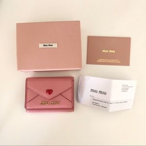 Miu Miu Madras Leather Wallet in Pink